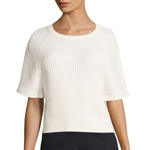 Theory White Mayalee Prosecco Rib-knit Top